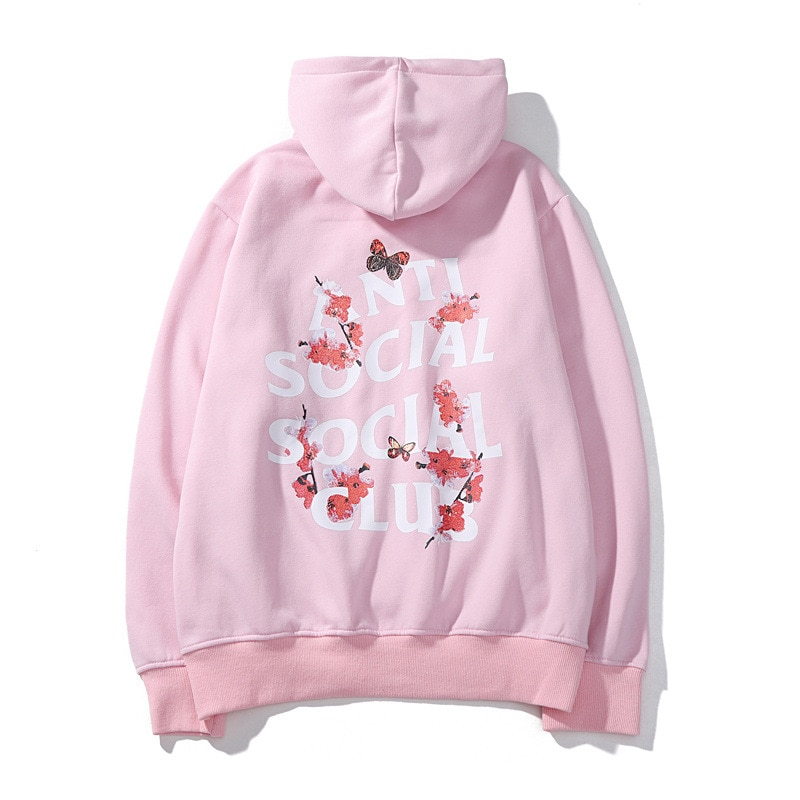 Pullover Thick Hoodie Teenager Flower Butterfly Anti Social Club - Pink