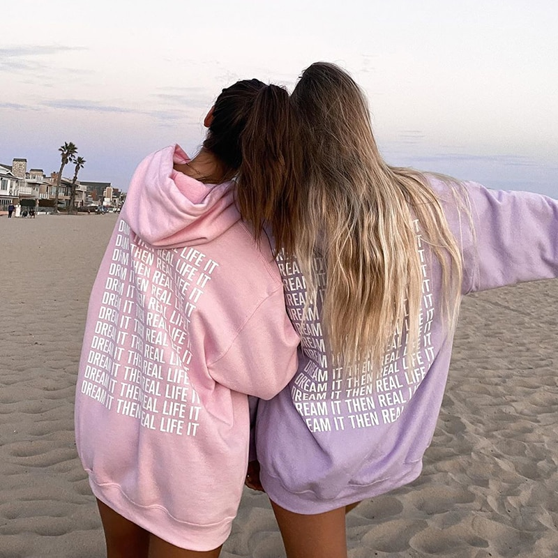 GIRL Pink Sweat Oversized Hoodies Sweatshirt Women Autumn Winter